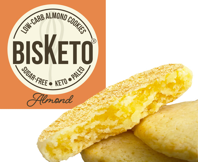 BisKeto Almond - Low-Carb Keto Cookies - Box with 12 (6 packs of 2)