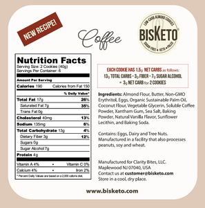 BisKeto Coffee - Low-Carb Keto Cookies - Box with 12 (6 packs of 2)