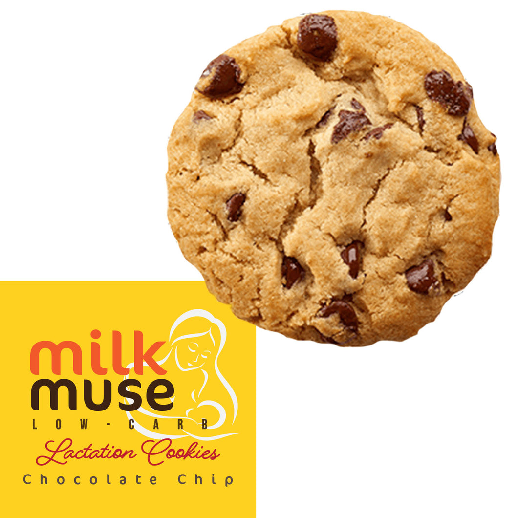Low Carb Lactation Cookies MilkMuse - Sugar Free and Gluten Free Snacks - Box with 12 Cookies (Chocolate Chip)