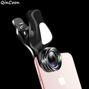 4K HD Phone Lens Wide Angle + Macro +Fill Light for Smartphone Mobile Universal 3 in 1 Camera for iPhone Samsung Android