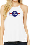 PLANE Sexy Flowy High Neck Spaghetti-String Tank Top (White)