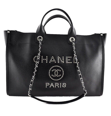 18P Deauville Black Caviar Extra Large CC Silver Studded Shopper Tote Bag CHANEL