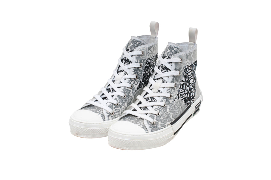 B23 High Top Black & White Embroidery Sneakers DIOR