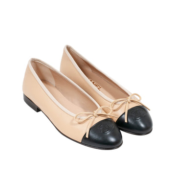 Ballerinas (Tan/Black) CHANEL