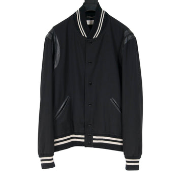 Black Gabardine Teddy Jacket SAINT LAURENT