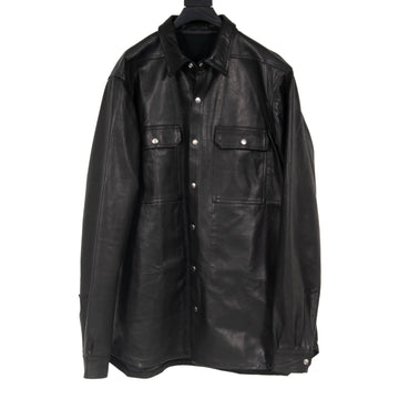 Black Leather Outer Shirt Jacket RICK OWENS