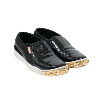 Black Patent Gold Studded Tempo Slip On Sneakers LOUIS VUITTON