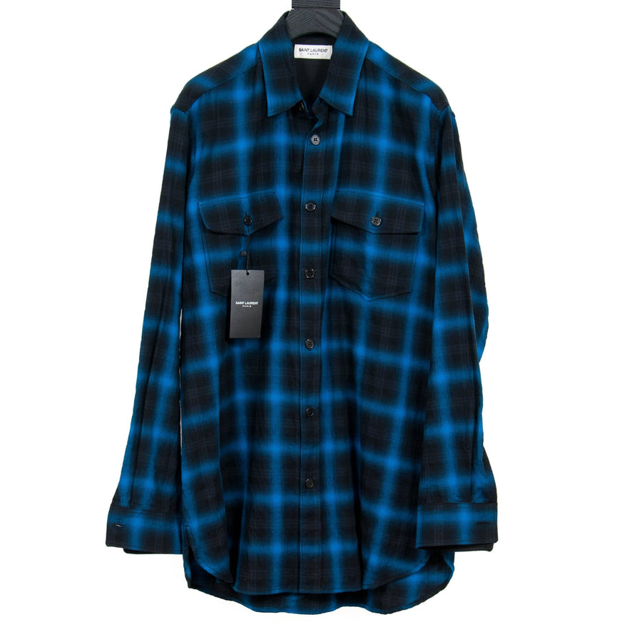 Blue & Black Tartan Flannel SAINT LAURENT