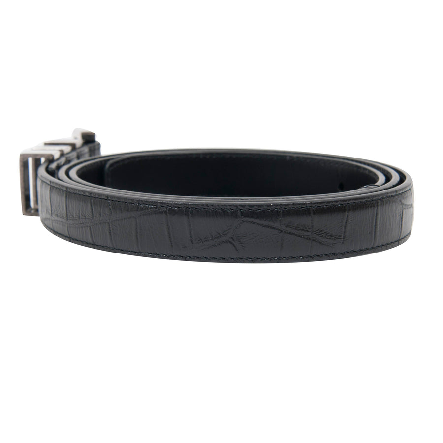 Croc Embossed Three Passant Belt SAINT LAURENT