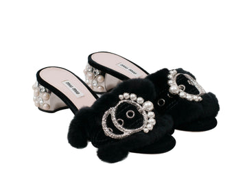 Crystal Embellished Satin And Rabbit Fur Slide Mules Miu Miu