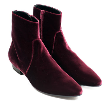 Devon Red Velvet Boots SAINT LAURENT