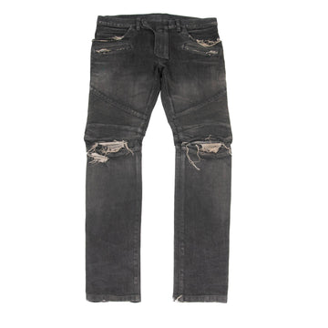 Distressed Biker Jeans (Gray) BALMAIN