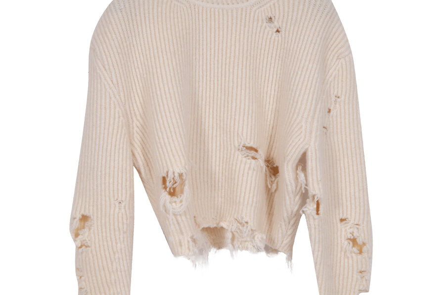 Distressed Cropped Sweater YEEZY
