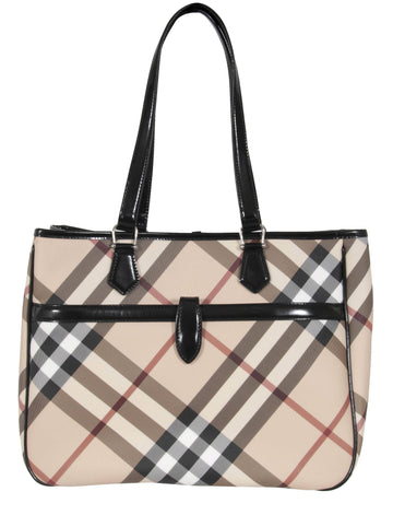 Emmy Nova Check and Leather Tote Burberry