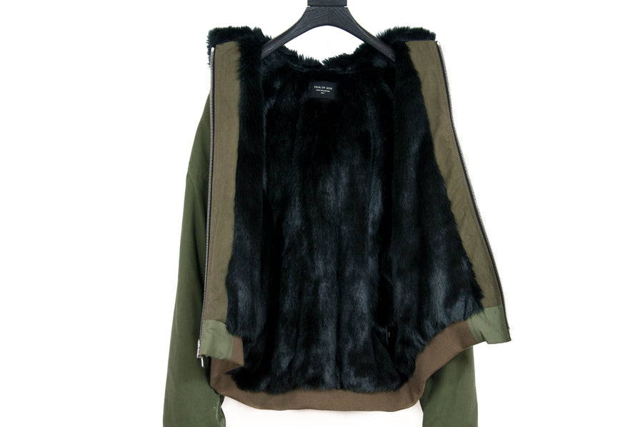 Faux Fur Hooded Bomber Jacket FEAR OF GOD