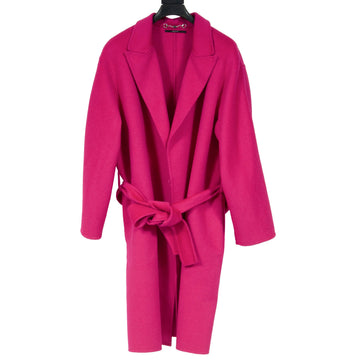 Fuchsia Wool Wrap Belted Gown Trench Coat GUCCI