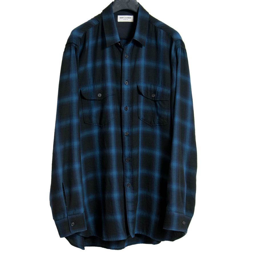 FW13 Blue & Black Flannel SAINT LAURENT