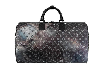 Galaxy Keepall Bandouliere 50 Black Grey Logo LV Duffle Travel Bag LOUIS VUITTON