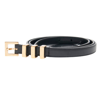 Gold Three Passant Leather Belt SAINT LAURENT