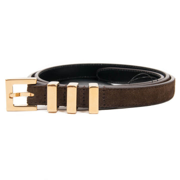 Gold Three Passant Suede Belt (Brown) SAINT LAURENT