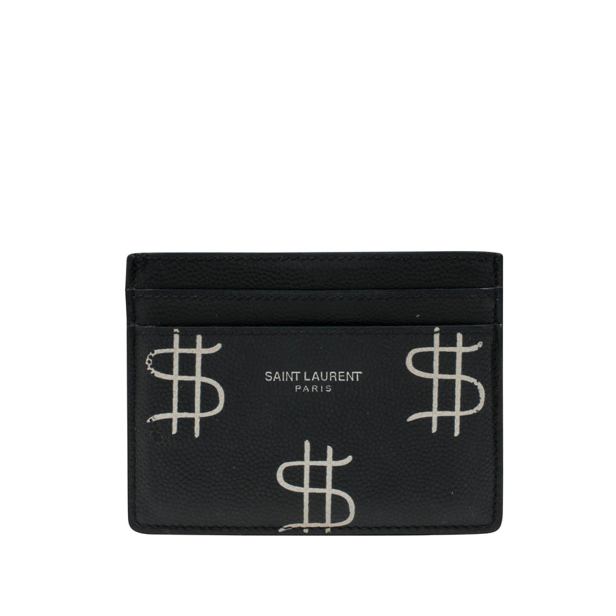 Grained leather Dollar Sign Card Holder SAINT LAURENT