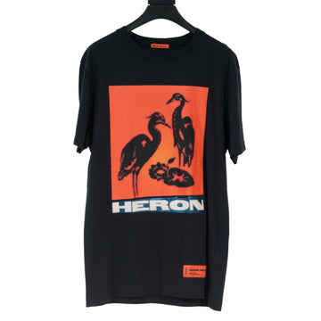 Graphic Print Bird T Shirt (Black/Orange) Heron Preston