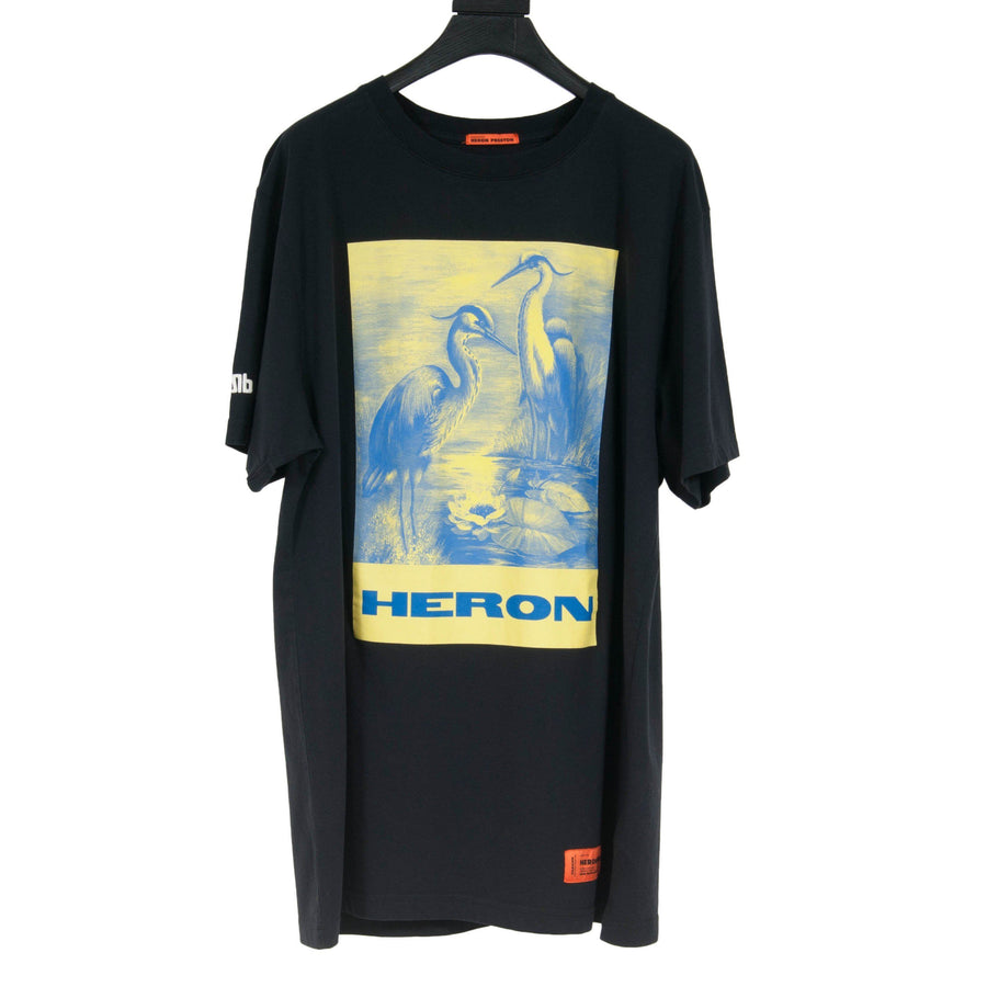 Graphic Print Bird T Shirt (Blue/Yellow) Heron Preston