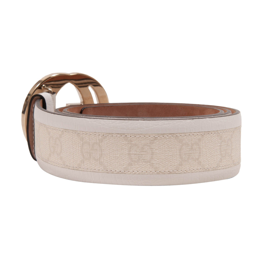 Interlocking Double G Belt (White) GUCCI