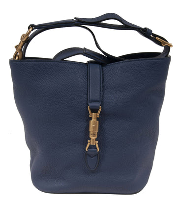 Jackie Leather Bucket Tote Bag (Blue) GUCCI
