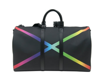 Keepall Bandouliere Taiga 50 Black/Rainbow Duffle Bag LOUIS VUITTON