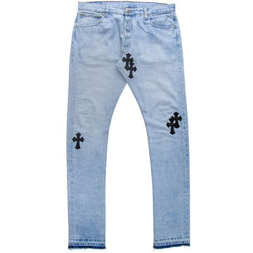 Leather Cross Patch Jeans CHROME HEARTS