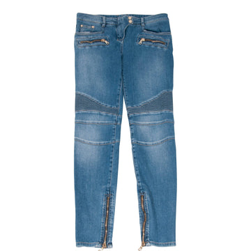 Lightwash Indigo Biker Jeans With Gold Side Zippers BALMAIN