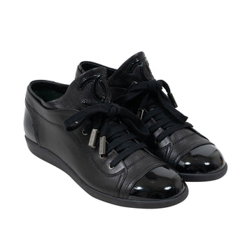 Low Top Leather Sneakers (Black) CHANEL