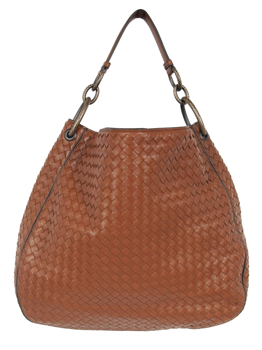 Medium Loop In Krim Interecciato Nappa Leather Bag (Brown) Bottega Veneta
