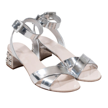 Metallic Leather Jewel Heel Sandal Miu Miu
