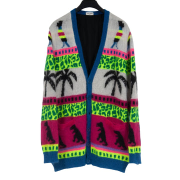Mohair Dinosaur Palm Tree Cardigan SAINT LAURENT