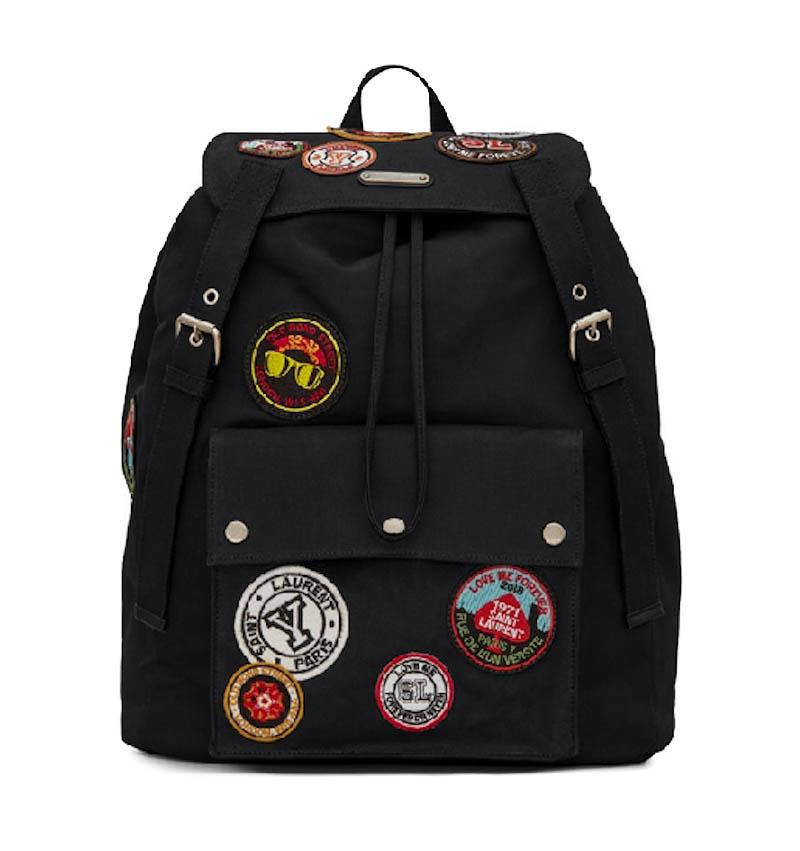 Noe Black Canvas Patches Logo Patch YSL Backpack SAINT LAURENT