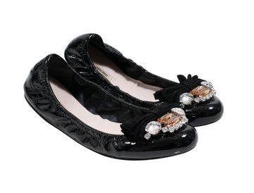 Patent Leather Crystal Embellishments Ballet Flats Miu Miu