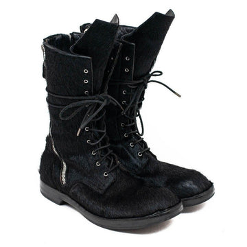 Pony Hair Double Zip Combat Boots RICK OWENS