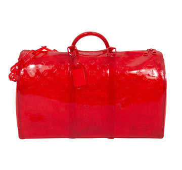 PVC Monogram Keepall Bandouliere 50 Grenadine Red LOUIS VUITTON