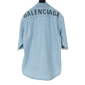 Raw Edged Short Sleeve Denim Shirt BALENCIAGA