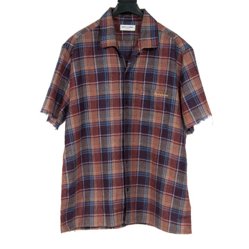 Raw Hem Short Sleeve Plaid Flannel SAINT LAURENT