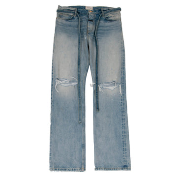 Relaxed Fit Distressed Selvedge Denim Jeans (Indigo) FEAR OF GOD