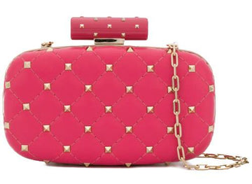 Rockstud Free Spike Pink Quilted Gold Chain Minaudiere Clutch Bag VALENTINO
