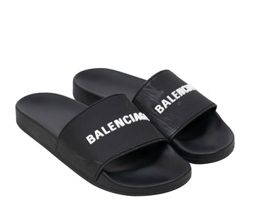 Rubber Logo Pool Slides BALENCIAGA