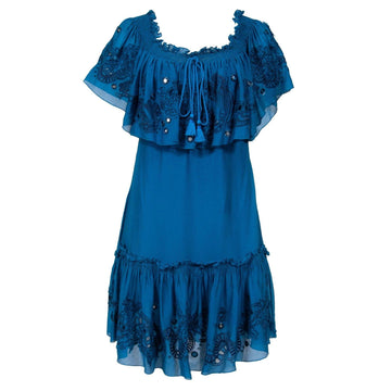 Silk Mini Dress With Rope (Blue) Roberto Cavalli