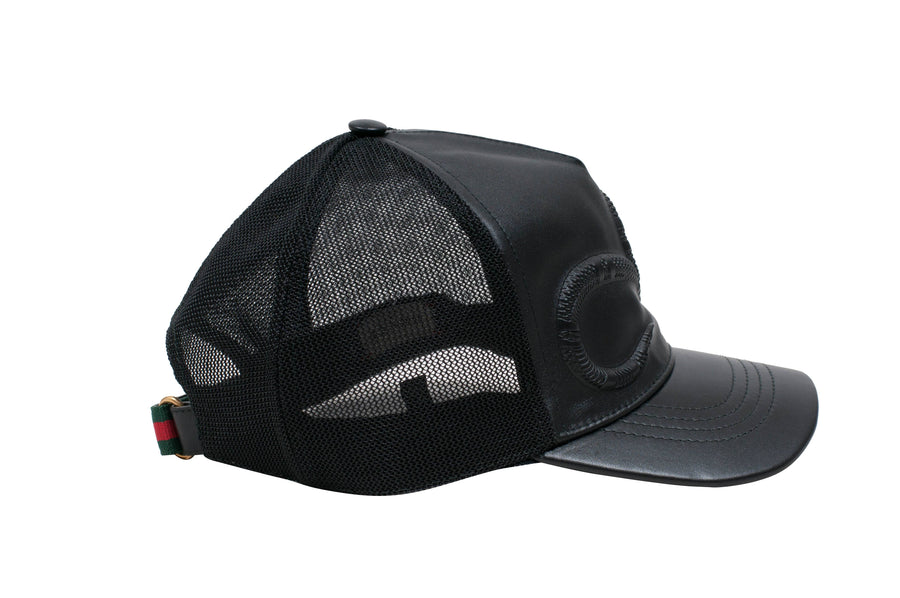 Snake Embossed Leather Baseball Cap GUCCI