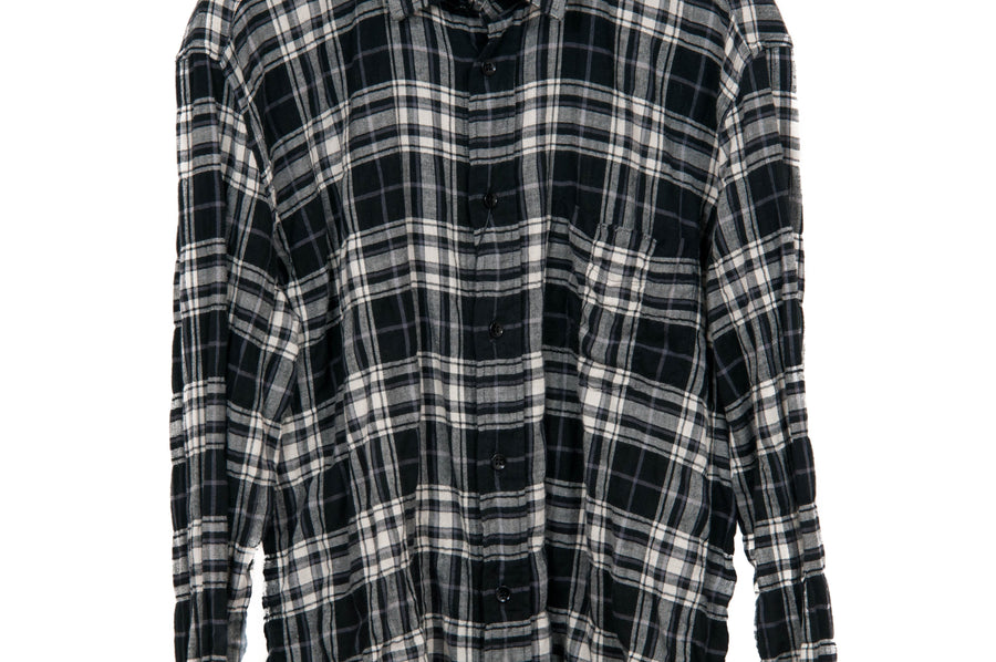 SS17 Raw Hem Checkered Flannel SAINT LAURENT