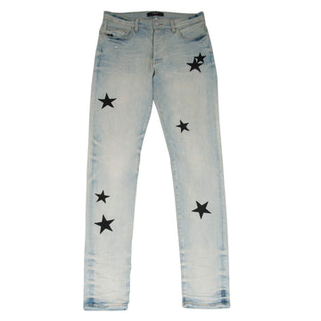 Stack Leather Stars Patch Jeans (Light Wash Bone Indigo) Amiri