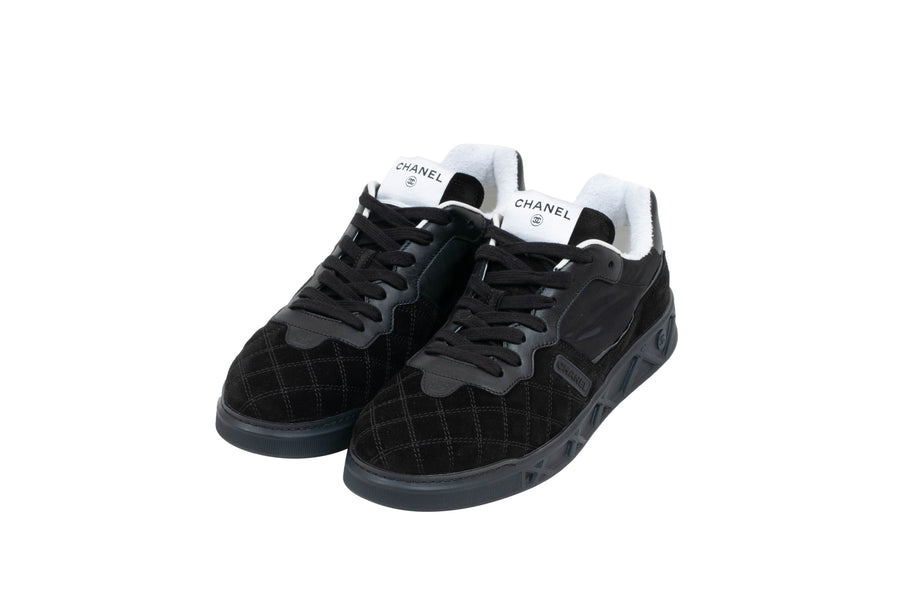 Suede Quilted Low Tops (Black) Chanel